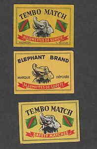 3 Anciennes étiquetteqs Allumettes Belgique Gh15 Eléphant Pkneckis-08002243-118123088