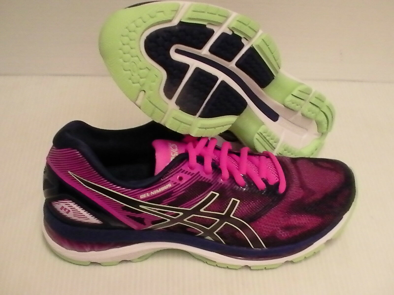 Asics women's gel nimbus 19 running shoes indigo bluee paradise green size 9 us