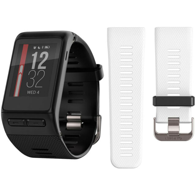 Garmin vivoactive HR GPS Smartwatch (Regular) Black w/ Extra White Band