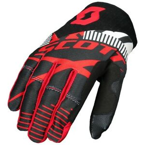 GUANTI-GLOVES-MOTO-ENDURO-CROSS-MX-SCOTT-450-PATCHWORK-NERO-ROSSO-TG-XL