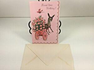 Vintage-Mid-Century-1950-039-s-Greeting-Card-Donkey-034-Belated-Birthday-034-w-Envelope