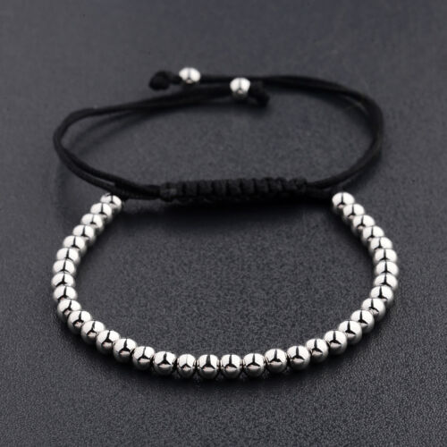 Luxury Men/'s Silver Micro Pave Zircone cubique boule Couronne cuivre tressé réglable bracelets