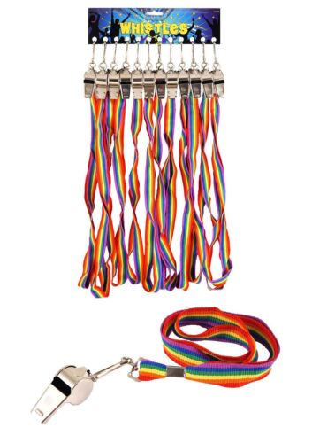 Metal Referees Sports Whistle And Hi Quality Rainbow Lanyard Pride Theme Party