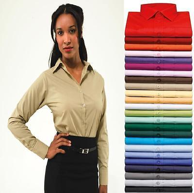 Premier Womens//Ladies Poplin Long Sleeve Blouse Plain Work Shirt RW1090