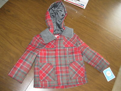 Circo Toddler Baby Boys Red Plaid Car Coat Lined Jacket Hood Wool Fall Spring