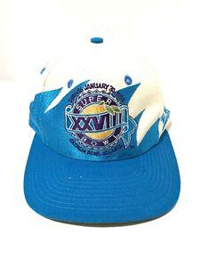 Super-Bowl-XXVIII-Sharktooth-Snapback-Hat-Georgia-Dome-1994-White-Blue-Vintage