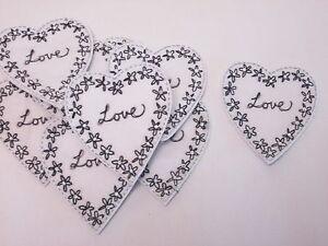 10 x Noir Blanc Brodé Fleur Amour cœur fabrication carte artisanat motifs # 10b114-afficher le titre d`origine b6QgdApj-07184849-228984498