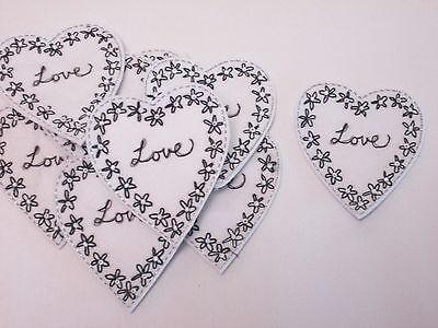 10 X Ricamato Bianco Nero Fiore Amore Cuore Artigianato Card Making Motivi # 10b114- Da Processo Scientifico