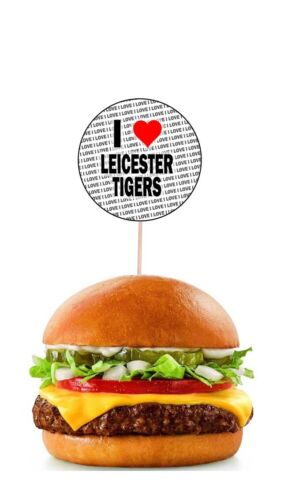 I Love Leicester Tiger Party Food Cupcake Picks Sticks Flags Decorations Toppers