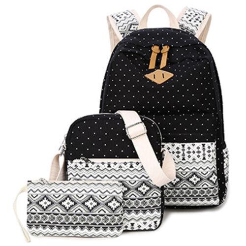 Canvas School Travel Backpack Cute Casual Shoulder Laptop Bag For Teen Girl 3pcs