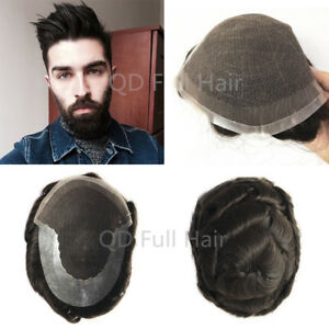 Swiss Lace Front Mens Toupees Human Hair Replacement Hairpieces For ... c2359b6a5