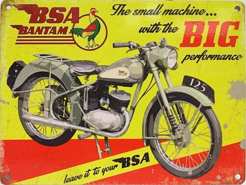 BSA Bantam Small Machine with Big Performance small steel sign 200mm x 150mm og
