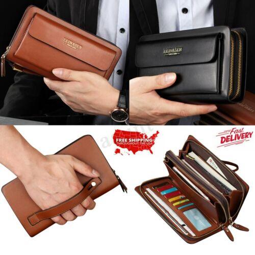 Men Leather Zipper Wallet Phone Business Bag Card Holder Clutch Handbag Purse !