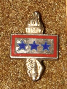 WWII-US-3-Sons-In-Service-Liberty-Torch-Pin-Enameled-Sterling