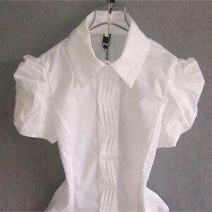 Dama-Blusa-Camisa-Body-Mono-Suave-Prendas-para-el-torso-Mangas-Cortas-Plisado-De-Cuello-De-Solapa