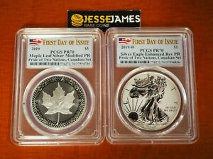 2019-W-SILVER-EAGLE-PCGS-PR70-PRIDE-OF-TWO-NATIONS-FIRST-DAY-OF-ISSUE-CANADA-SET