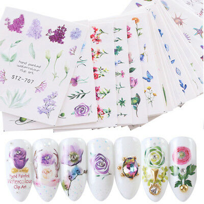 24 Sheets Nail Art Stickers Watercolor Water Transfer Decals Flowers Tips DIY
