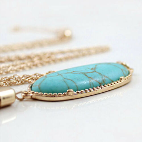 Fashion Women/'s Big 2/'/' Oval Abalone Druzy Stone Long Tassel Pendent Necklace