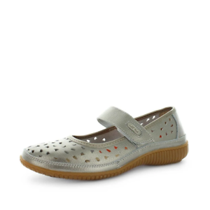 Just Bee Cale Pewter Leather Slip On Comfort Casual Shoes Womens