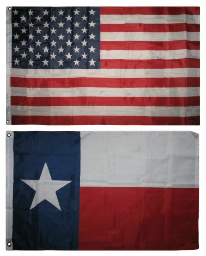Wholesale Combo Lot 3x5 USA Flag /& State of Texas Lone Star 2x3 2 Flags