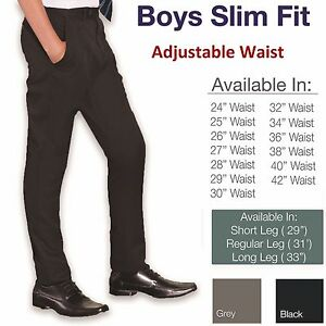 Ages-9-16-Boys-Skinny-Trousers-School-Slim-Fit-Black-Grey-Short-Regular-Long-Leg