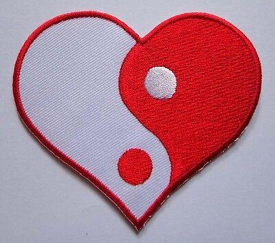 BEAUTIFUL LOVE HEART YIN YANG SYMBOL Embroidered Iron on Patch Free Shipping