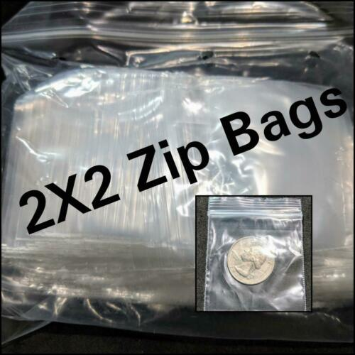 2X2 2 Mil Clear Plastic Zip Bag Ziplock Bags Reclosable Sizes Poly Coins//Jewelry