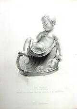 NAKED BABY BOY TODDLER CHILD IN CRADLE ~ Old 1860 Sculpture Art Print Engraving
