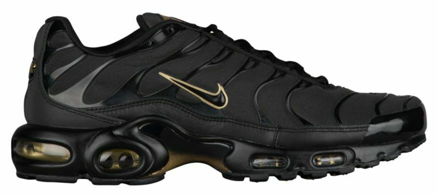 Mens Nike Air Max Plus TN Sneakers New, Black gold 852630-024 NEW WITH BOX