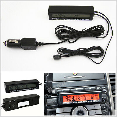 Car Digital Volt Meter/ Clock/ Timer /Temp Gauge Ice Alert Orange&Bule Backlight