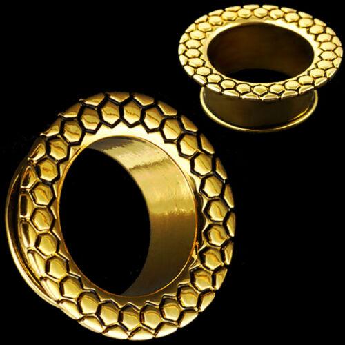 Sold in Pairs Brass Ear Flesh Tunnels Single Flat Flared Plugs Gauges Earrings