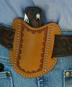 XL-S-Leather-Pancake-Pocket-Knife-Sheath-for-Benchmade-Ruff-039-s-Border-Tooled-Tan