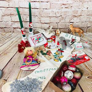 VTG-Junk-Drawer-Christmas-Decorations-glass-balls-card-birds-angel-mid-century