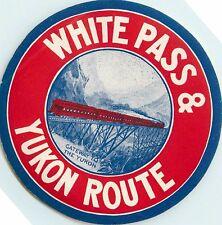 WHITE PASS & YUKON ROUTE ~ALASKA~ Great Old RAILROAD Luggage Label, c. 1945