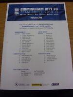 21/03/2015 Birmingham City Youth v Leeds United Youth  (single sheet, folded). T
