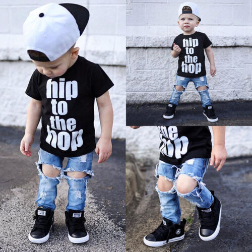 Casual Toddler Kids Baby Boys Clothes T Shirt Tee Tops+Denim Pants Outfits Set