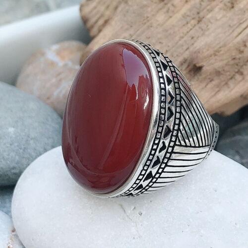 Hecho a mano Cara Grande Piedra Natural Ágata Rojo 925 Sterling Silver Anillo de hombre j2