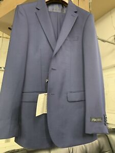 New-36R-Men-039-s-SLIM-French-Blue-Suit-100-Wool-Super-150-Made-in-Italy-Ret-1295