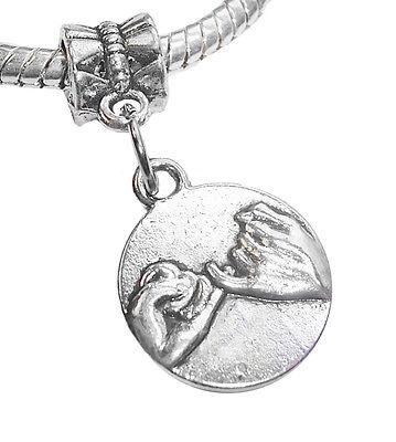 Pinky Swear Best Friends Hands BFF Gift Dangle Charm for European Slide Bracelet
