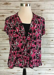 Notations Blouse Womens 1x Pink White Black Geometric Stretch Knit