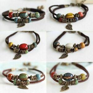 Women-Ethnic-Boho-Leather-Ceramic-Leaves-Beads-Bracelet-Bangle-Anklet-Jewelry