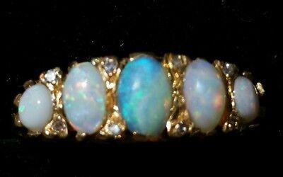 Antique Opal Diamond 18k Yellow Gold Band Ring Estate Jewelry  Ladies 4.2 grams