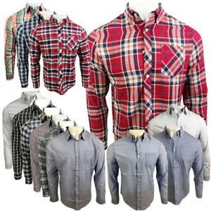 Ex-UK-Chainstore-Para-Hombre-De-Cuadros-Algodon-Verano-Informal-de-Mangas-Largas-Camisa-Prendas-para