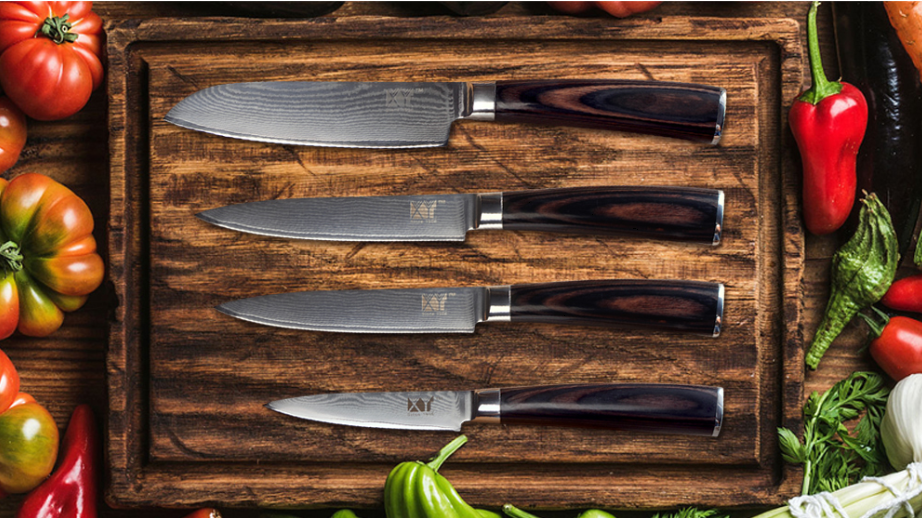 VG10 Damascus Steel 73 Layers 4Pcs Knife Knife Knife Set Chef Santoku Utility Pairing Wood 5 6ae10a
