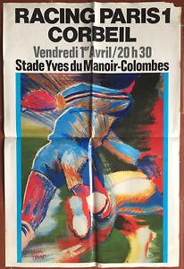 Affiche-Football-RACING-PARIS-1-contre-CORBEIL-Stade-Yves-du-Manoir-Colombes
