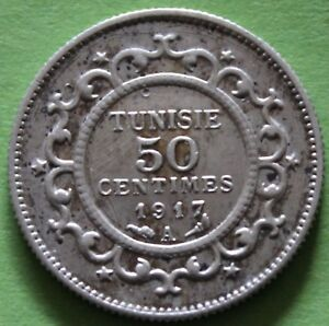 TUNISIE-50-CENTIMES-1917-A-ARGENT