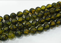 "6-12mm Yellow Dragon Veins Agate Gnm Round Loose Beads 1 Strands/16""L"