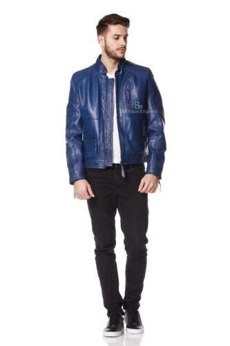 Uomini VERI Classica Giacca in Pelle Blu Zip Colletto Di Marca Morbido Stile Casual 9056
