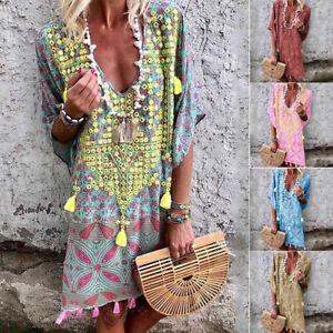 Plus-Size-Women-039-s-Cotton-Summer-Short-Sleeve-Long-T-Shirt-Ladies-Casual-Dress