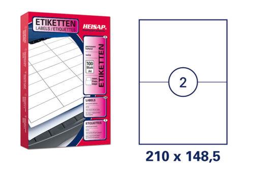 200 Universal Drucker-Etiketten 210x148,5 Weiß permanent 100 Bogen A4 HEISAP 26